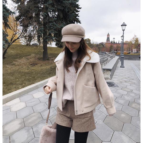 MiShow 2019 morno mulheres curto de lã Brasão Mulheres Inverno Moda Zipper Thicken casaco Jacket solto MX18D9531 Y190926