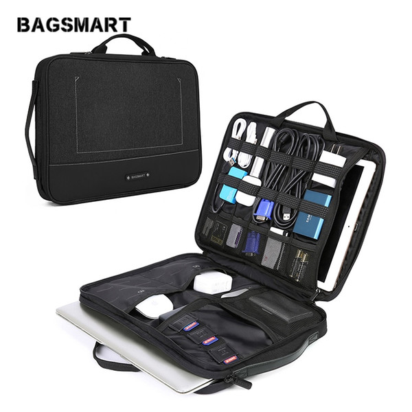 BAGSMART 13-14 Inch Laptop Sleeve Case with Electronics Accessories Organizer Laptop Accessories Bag Waterproof Notebook Handbag #781195
