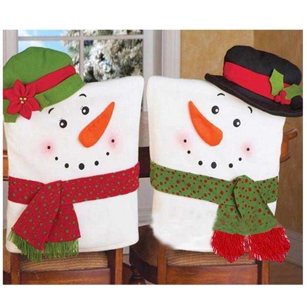 Joyeux Noël Décoration 2 PCS Bonhomme de neige rouge de Noël Tirez Flanelle Housses de chaise Décoration de Noël Décoration Natal 2017 @ GH