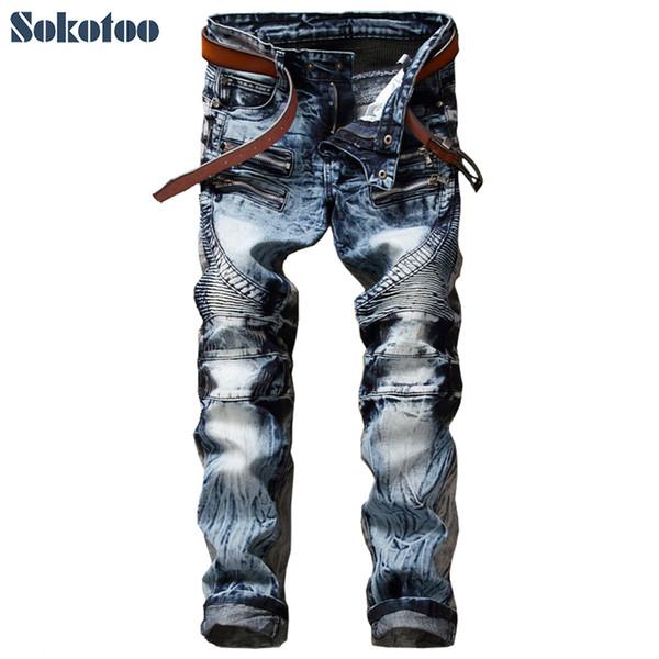 Sokotoo Jeans da moto slim da uomo slim fit Pantaloni casual in denim lavato con neve Pantaloni lunghi pieghettati