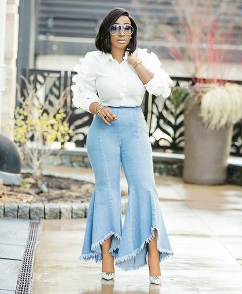 Yooneedi 2019 Verano Nueva Llegada Casual Mujer Pantalones Vaqueros Color Solid Ladies Streetwear Flare Pantalones SY-0316