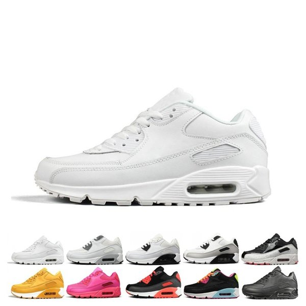 Yellow Triple White 90 Mens womens Running Shoes Black Grey Pink Mens Trainers Cushion Surface Breathable Sports Sneakers 36-46