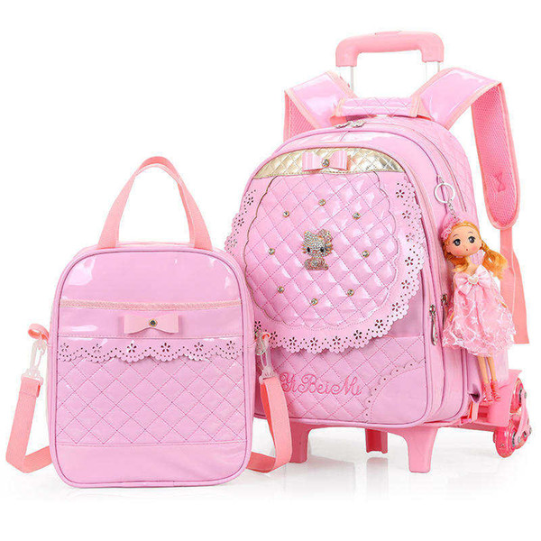 2019 New Children Trolley School Bag Set Girls Night Reflective Strips PU Waterproof Leather three wheeled Backpack For Students