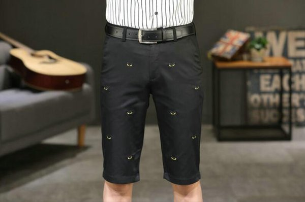 Wholesale free post 19 eyes floral embroidery male five points shorts thin business casual knee pants