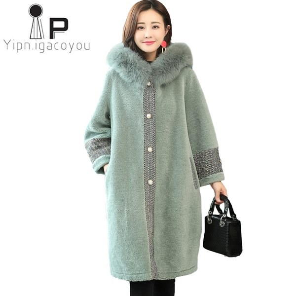 Winter Faux Sheepskin Coat Women Long Fox Fur Collar Hooded Fake Fur Jacket Women Outerwear Plus size Warm Ladies Faux Coat
