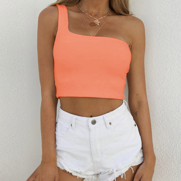 3fe1740b4cc608 Sexy One Shoulder Top Wome Bare Midriff Top Shirt Black White Solid Color Women  Clothes Drop Shipping