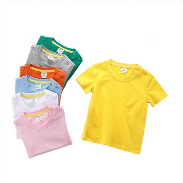 Çocuk Giyim Bebek Katı T-Shirt Erkek Yaz Kısa Kollu Üstleri Kız Pamuk Casual Gömlek Toddler Butik Tees Moda Spor Bluzlar B5573