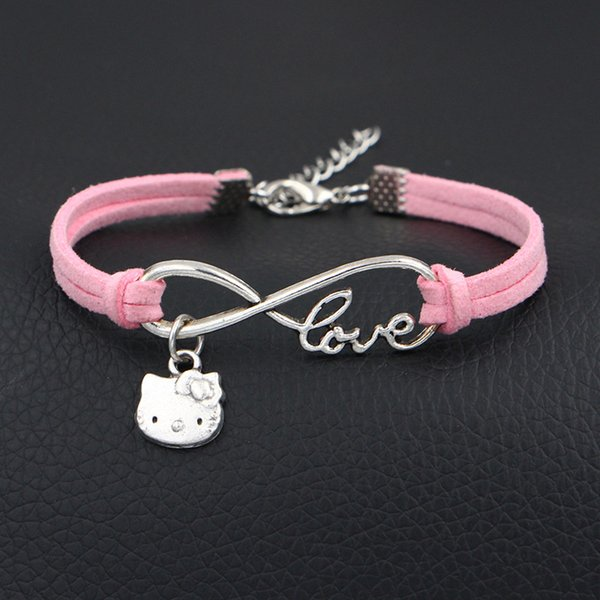 Vintage Infinity Love Hello Kitty Cat Bracelet Bangles For Women Men Boho Pendent Single Layer Pink Leather Suede Cuff Bohemian Jewelry Gift
