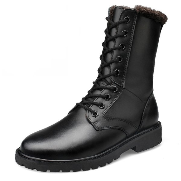 Fashion Men's High Boots Fur Lace Up 2017 Leather Army Boots High Quality Men Boot Winter Men Shoes Plus Size 52