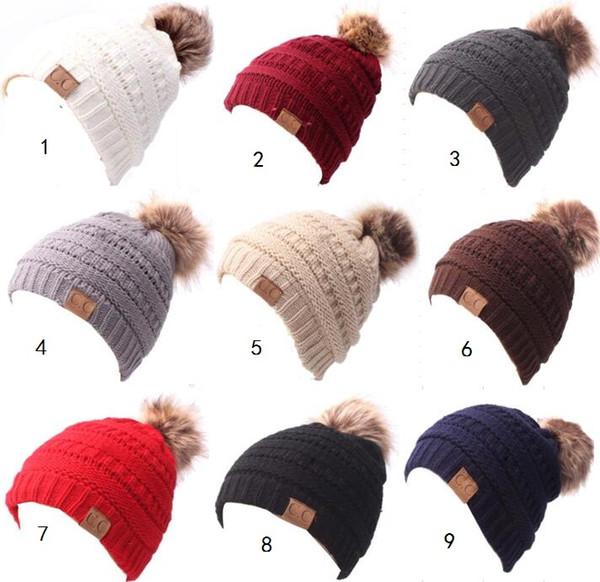 winter fleece lined crochet hats for ins baby kids children outdoor sports ski thick cap fashion boy gir fur pom knit beanie hat