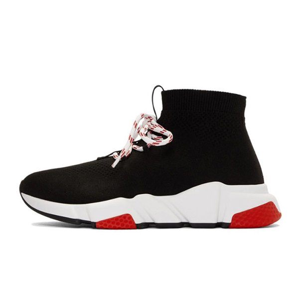 2020 sapatos de grife de meias Speed ​​Trainer Homens Mulheres Preto Red Triple preto liso Sock Botas Casual Shoes mulheres instrutor Lace-up Runner L15
