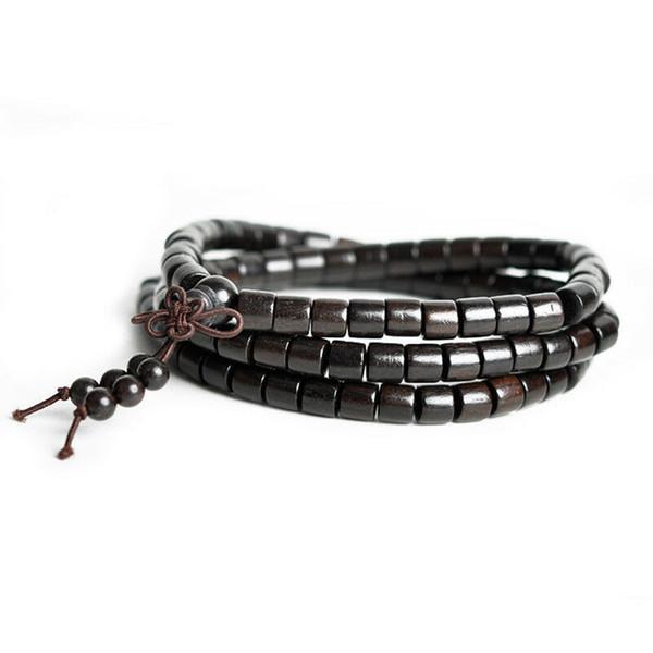 Tibetan Buddhism 108 Ebony Wood Barrel Bead Beads Mala Necklace