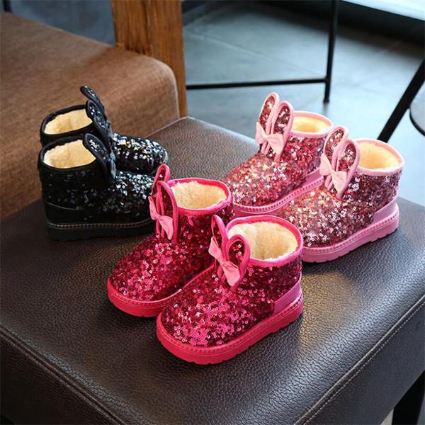 Acheter Hiver 2019 Enfants Bottes Filles Paillettes Coton Bébé Chaussures Chaudes Étudiante Fille Bottes De Neige En Coton Princesse Enfants Baskets