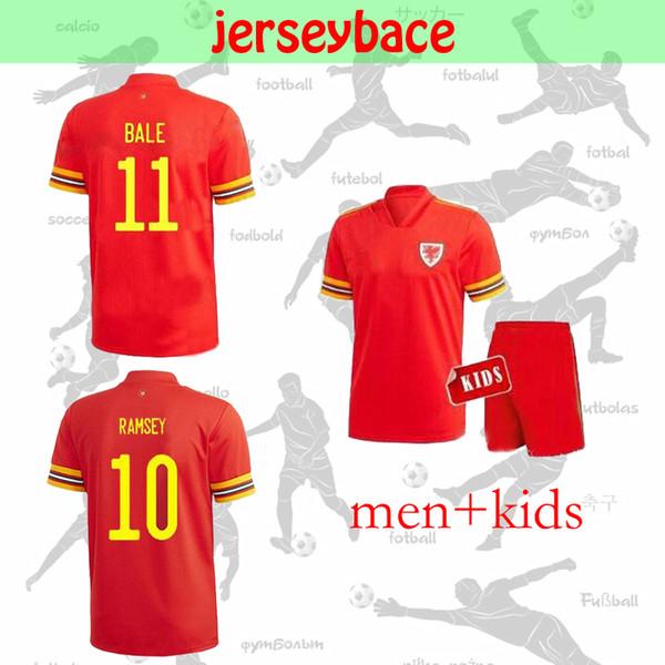 19 nuevos 20 niños de Jersey del fútbol de la Copa Europea kit Gales del hogar lejos camisa BALA James Ramsey ALLEN los hombres de fútbol