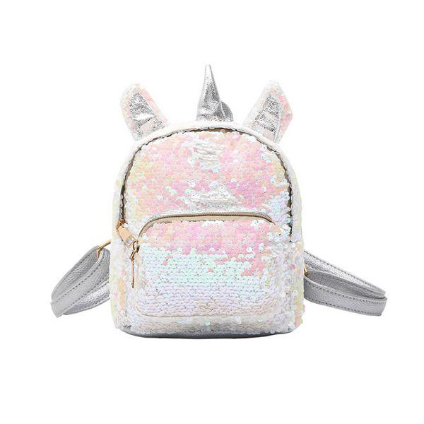 Women Unicorn Sequined Backpack Children Shiny PU School Bag Bookbag Kids Cartoon Laser Bling Bags LLA408