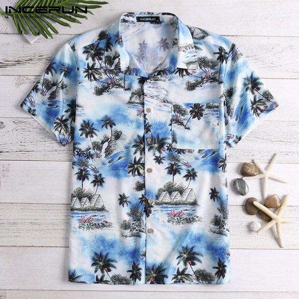 INCERUN Été Hommes Chemise Hawaïenne Imprimer À Manches Courtes Col Rabattu Casual Tops Lâche Tropical Beach Chemises Hommes Chemse 2019