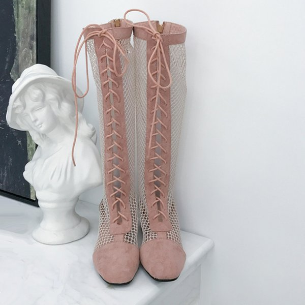 Pink Boots Women Low Heel Long Boots Leisure Cross Lace Up Knee High Summer Suede Mesh Lady Shoes Female High Heels
