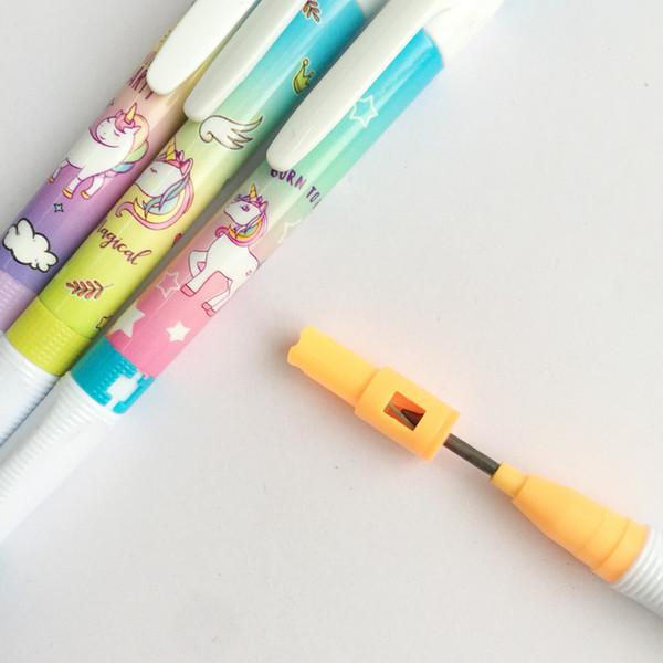 48 adet / lot Unicorn Gökkuşağı ile Kalemtıraş Mekanik Kalem Öğrenci Otomatik Kalem İçin Kid Okulu Büro Tedarik