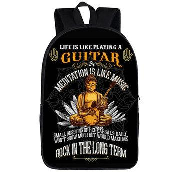 Meditation backpack Life like play guitar daypack Long term rock schoolbag Music print rucksack Sport school bag Outdoor day pack