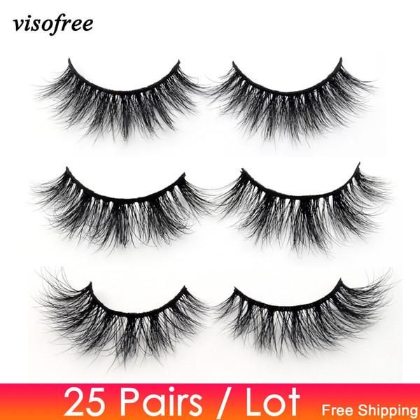 Visofree 25 pairs/lot Mink Lashes 3D Mink Eyelashes Cruelty free Lashes Handmade Reusable Natural Eyelashes  False