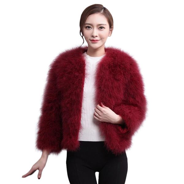 women's fur coat Faux Fur Ostrich Feather Soft Coat Jacket Fluffy Winter Xmax artificial abrigo mujer 2018 #7