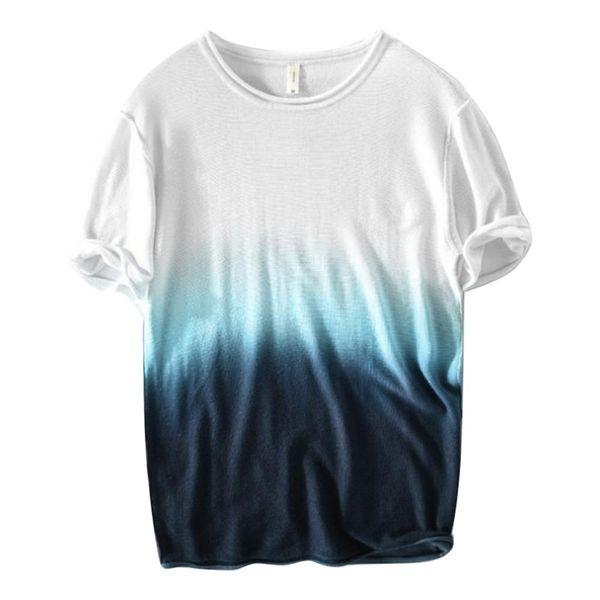 Men's Summer New Style Fashion Gradual Color Short Sleeve Comfortable T-shirt Harajuku Casual O-neck Pullover Top For Boys 2019