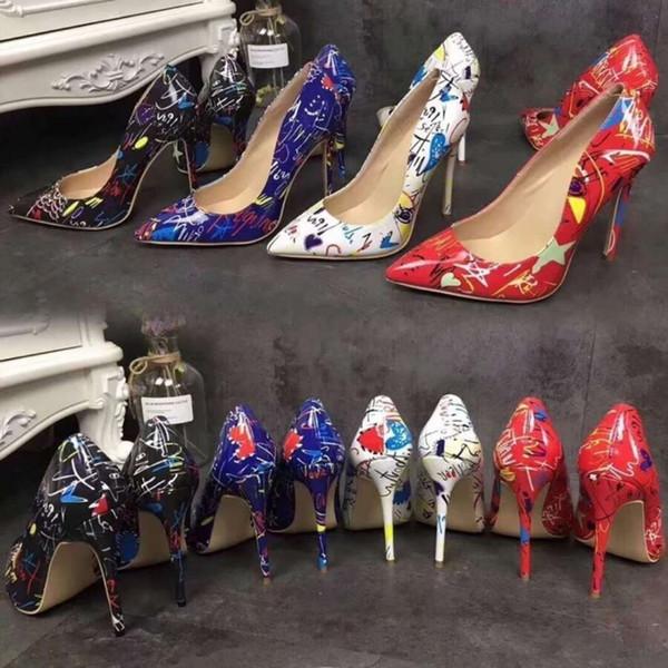 Sıcak Siyah Yani Kate Stilleri 12 cm Yüksek Topuklu Ayakkabı Çıplak Renk Hakiki Deri Noktası Toe Kadınlar Pompalar Kauçuk Düğün ayakkabı