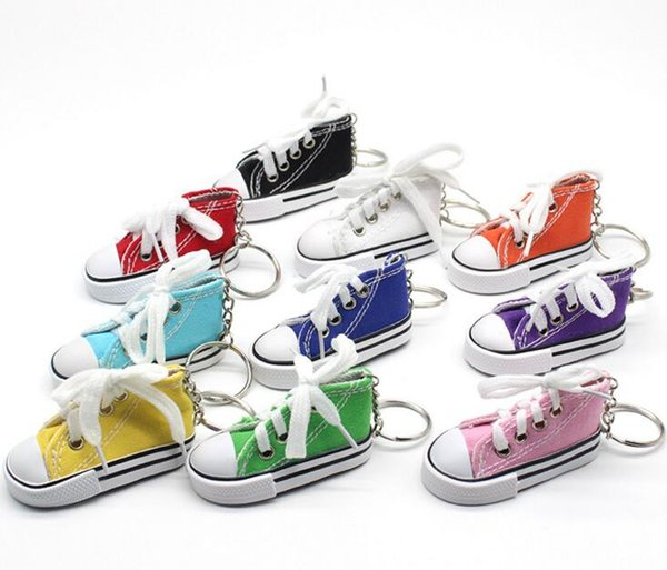 Wholesale 10 Color 3D Novelty Canvas Sneaker Keychain Novelty Canvas Shoes Key Ring Shoes Key Chain Holder Handbag Pendant Favors
