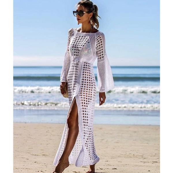 Crochet maxi dresses women white knitted beach cover up dress tunic long pareos bikinis cover ups swim robe plage beachwear