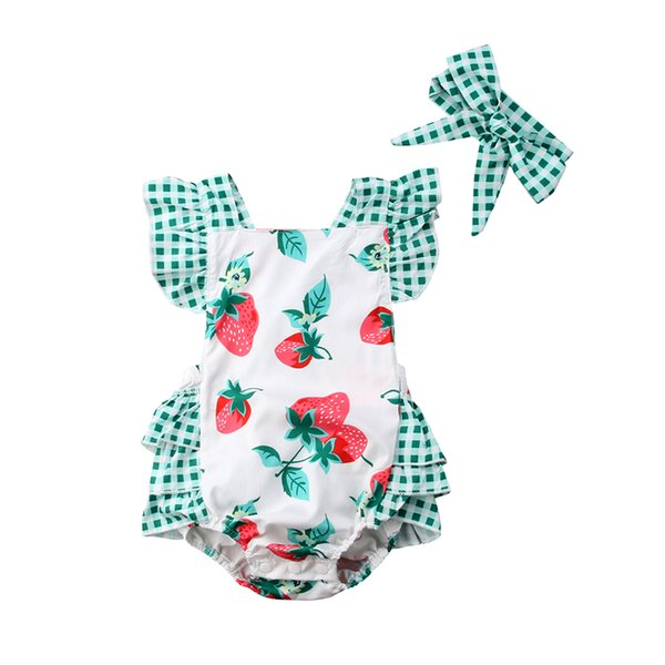 Cute Newborn Baby Girl Strawberry Clothes Sleeveless Back Cross Strawberry Print Tutu Ruffles Baby Romper Jumpsuit Outfit