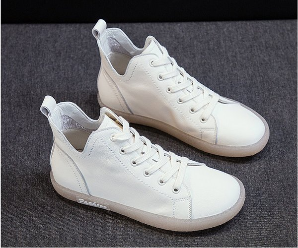 2019 new spring and autumn fashion leather casual shoes fashion designer women's high-top oxford outdoor sports shoes