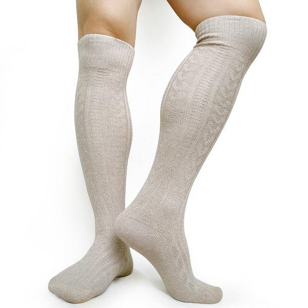 Meias altas do Mens do joelho Knit Meias longas quentes do inverno para homens Meia do algodão Sexy Meias do tecido masculinas Gay para a coleção
