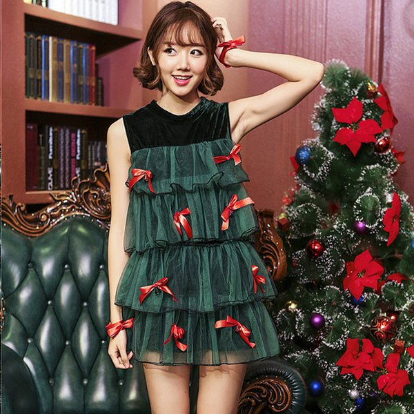 Christmas Clothes Girl Green Christmas Tree Dress with Safety Pants 2 Pcs Set Lace Chiffon Mother and Daughter Dresses Suit