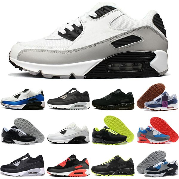 Barato Nike Air Max 90 Hombres Negro Azul Zapatillas De