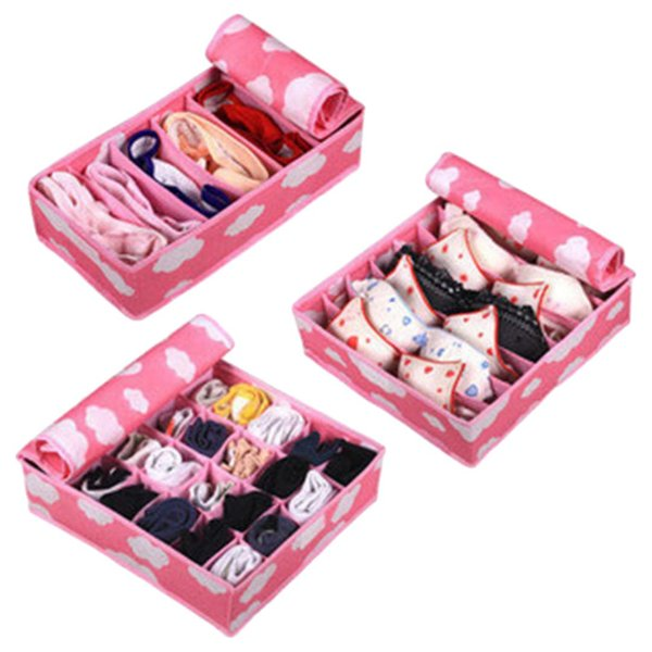 Pink 3 In 1 Underwear Storage Box For Ties Socks Shorts Bra Underwear Organizer Divider Drawer Lidded Closet Organizer
