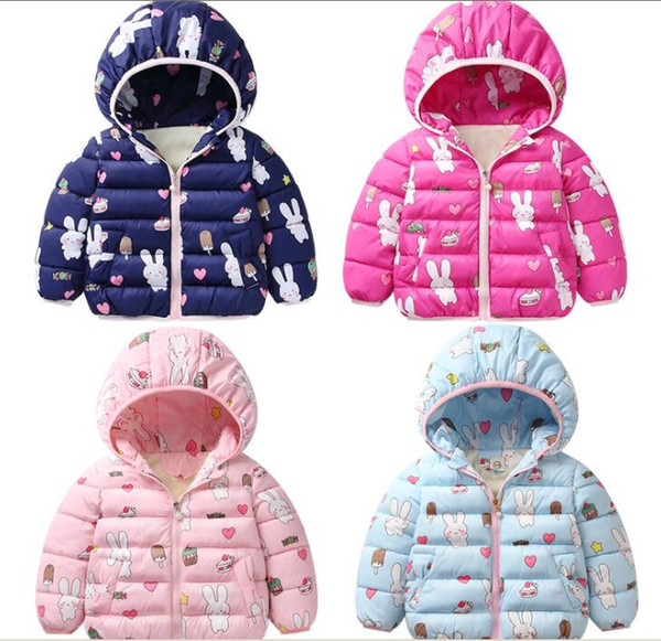 Chaqueta de abrigo para niños Chaqueta de abrigo de invierno para niños Ropa de abrigo de manga larga Abrigo de esquí Chaqueta de abajo Ropa de diseñador Ropa de impresión de conejo cálido