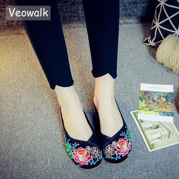 Veowalk Flowers Embroidered Womens Cotton Fabric Slippers Lady Comfort Outside Slip-on Vintage Bridal Shoes Flat Slide Shoes