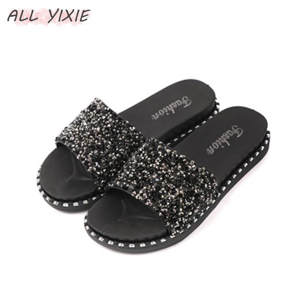 ALLE YIXIE 2019 Sommer Neue Mode Pailletten Casual Damenschuhe Sandalen und Hausschuhe Flache Schuhe der Frauen Flip-Flops Strand
