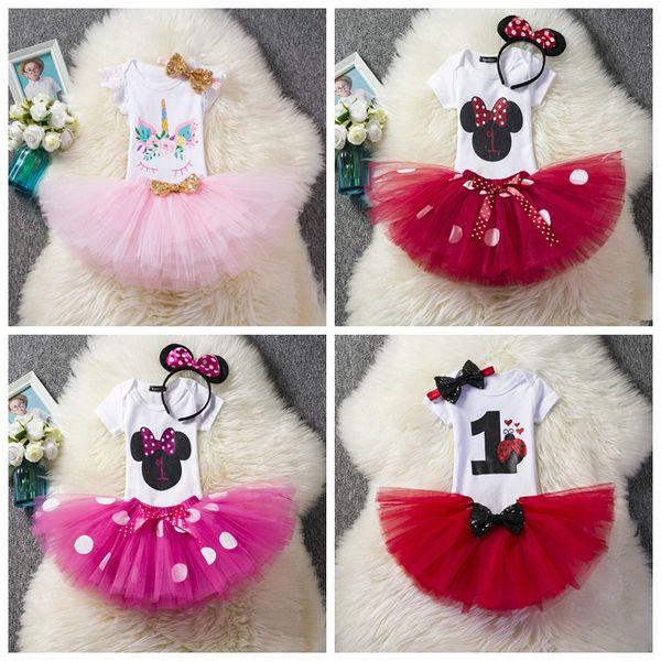 los bebés unicornios de dibujos animados se adaptan a los mamelucos + faldas tutu + lentejuelas bowknot 3pcs trajes de niña recién nacido fiesta de cumpleaños vestir para 1 º 2 º