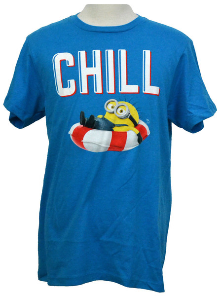 Minions Chill T-shirt Despicable Me Graphic Tee Turquoise NWT