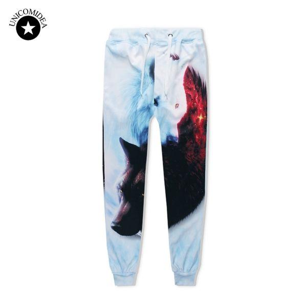 Unicomidea Hip Hop Jogger Pants Men Women 3d Sweatpants Ice Fire Wolf Printed Trousers Track Pants Causal Mens Clothing Dropship C19012101