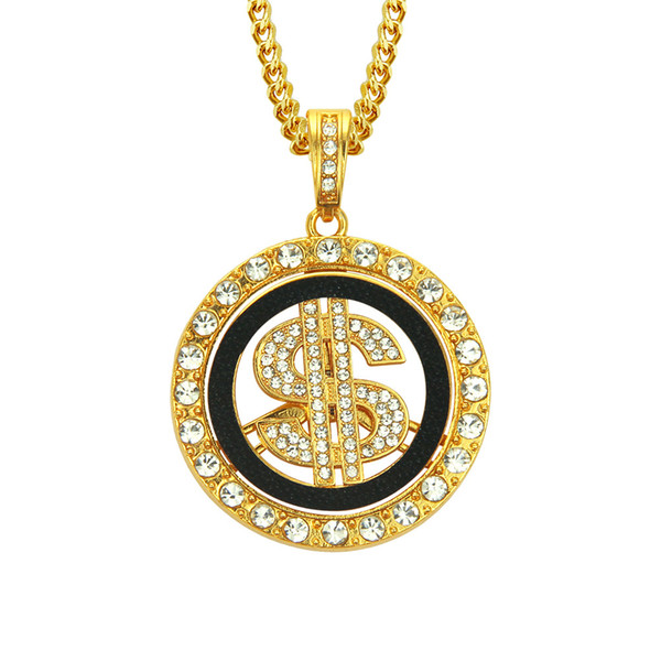 Punk Round US Dollar Sign Pendant Necklace Golden Plated Rhinestone Crystal Gold and Silver Fashion Star Men Jewelry Long Link Chain
