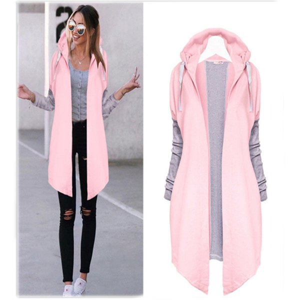 2018 Autumn Women Fashion Clothing Patchwork Casual Long Coat Women's Hoody Jacket Long Cardigans Spring Outerwear Coats Female
