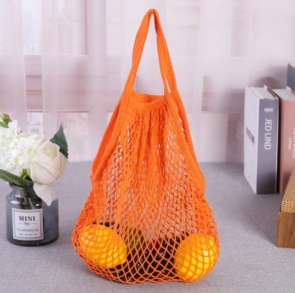 top popular Hot Sale Reusable cotton String Shopping Grocery Bag Shopper Tote Mesh Net Woven Cotton storage Bag outdoor Portable Shopping Bag 2021