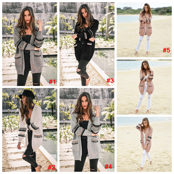 Frauen Strickjacke Feminino Weibliche Strickjacken warme Boho Open Front Langarm Wolle Strickjacke Mantel outwear LJJA3044