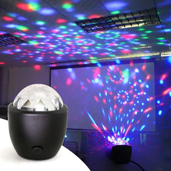 LLEVÓ USB Mini Voz Activada Crystal Magic Ball Escenario Luces de Discoteca Proyector de Bola de Disco Luces de Fiesta Luces de DJ para el Hogar KTV Bar Coche