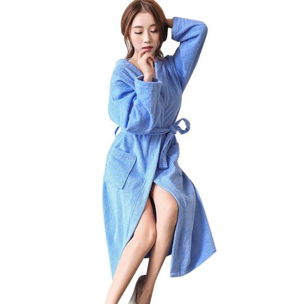 MUQGEW bathrobe cotton night dress women robe Lovers Winter Lengthened Bathrobe Splicing Home Clothes Long Sleeved Robe Coat#G3