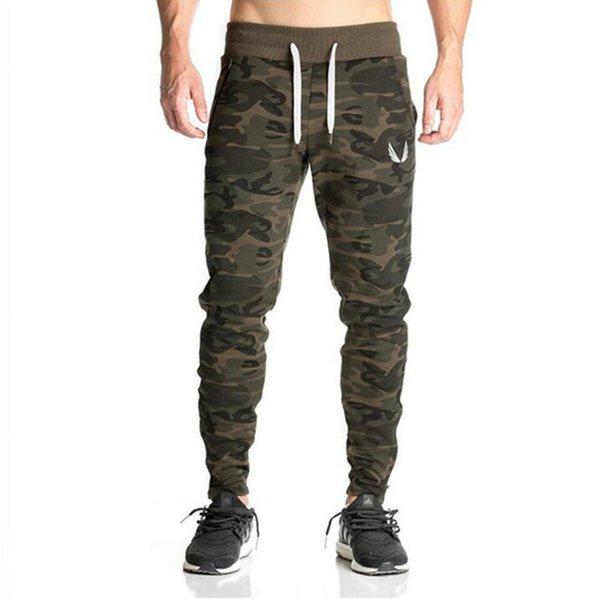 2018 Yeni Sweatpants Erkek Gasp Egzersiz Vücut Geliştirme Giyim Rahat Kamuflaj Erkekler Sweatpants Joggers Pantolon Sıska Pantolon Sıcak C19041301