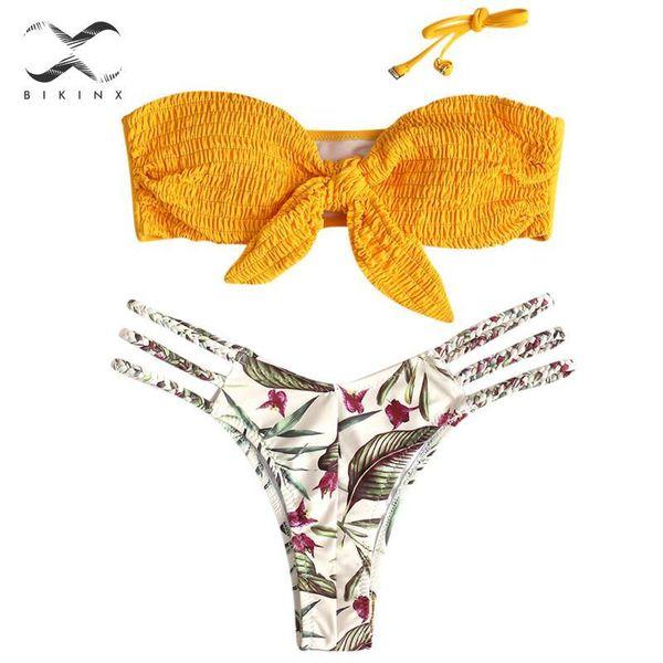 bandeau bikini 2019 hollow out swimsuit female knot bathing suit floral print bikini set push up swimwear women biquini new