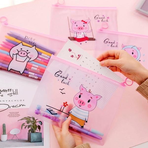 Kawaii Cute Pig Transparent Pencil Case Cosmetic Bag School Office Supplies Document Bag File Folder Stationery Organizer
